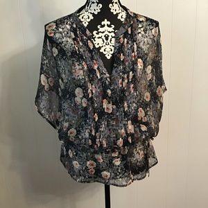 Joie Sheer Top Floral Drawstring waist Size Med